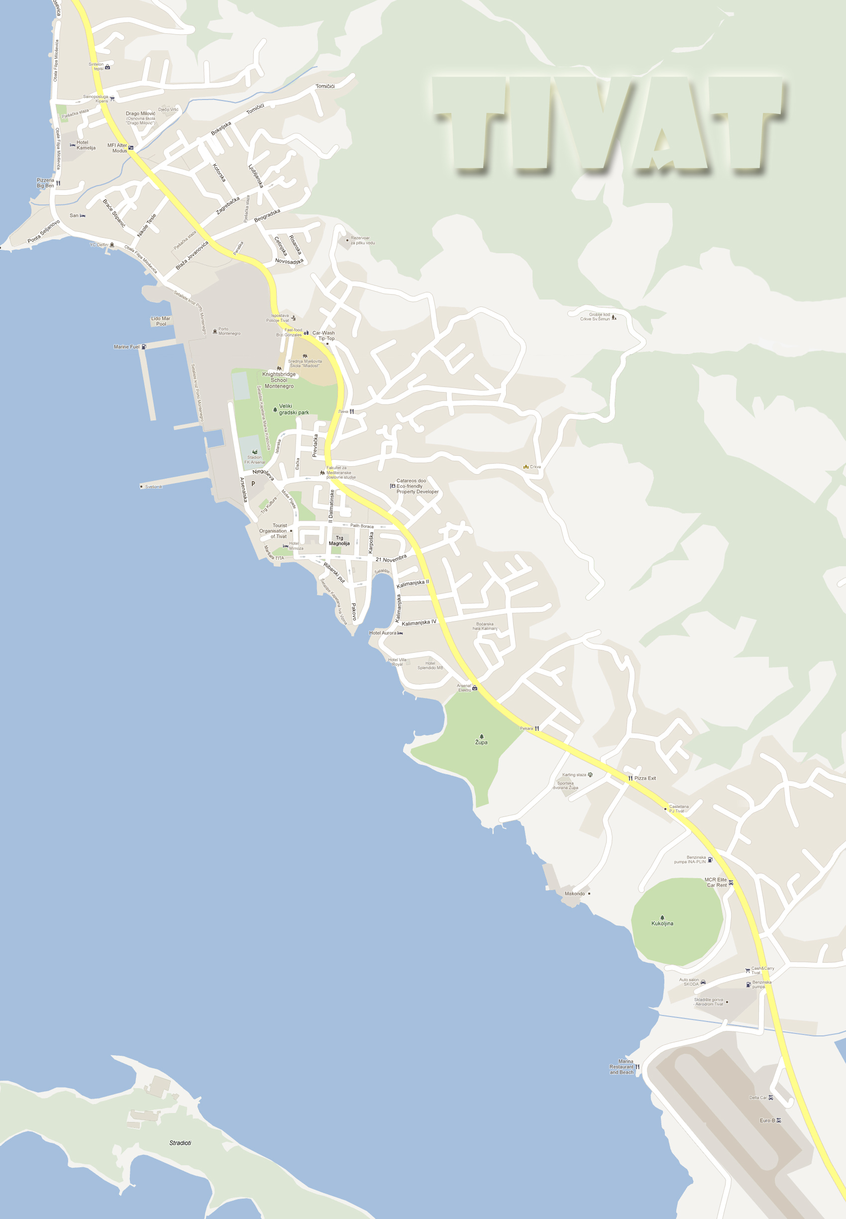 mapa crne gore tivat Mapa   Tivat, Crna Gora mapa crne gore tivat