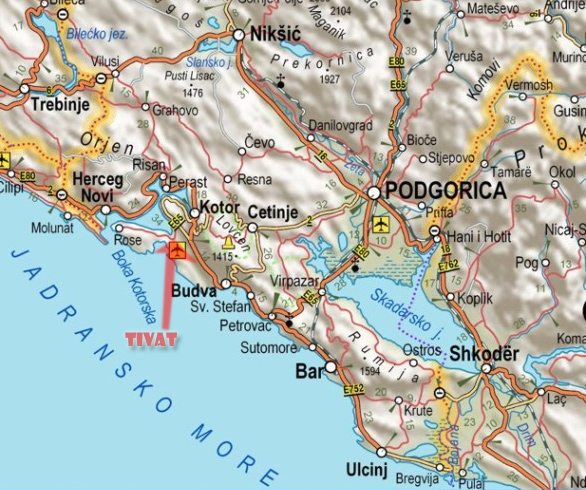 Mapa Crne Gore Primorje Superjoden